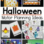 Halloween motor planning activties. Ideas for activities that work on fine motor skills and gross motor skills with a Halloween theme. These activities are great for pre-k and kindergarten aged students. Use these fun ideas in the classroom, home or in therapy sessions.