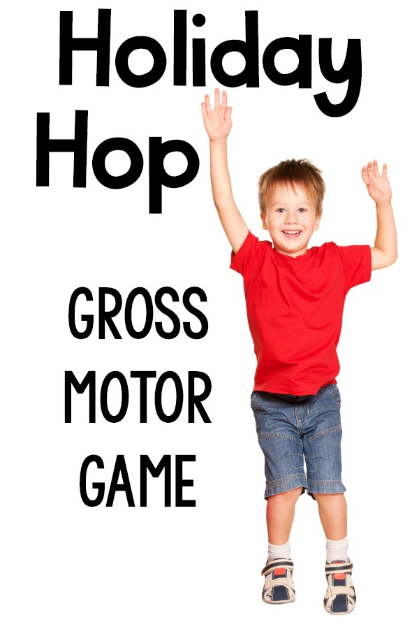 Christmas Gross Motor. The holiday hop is a fun way to move during the holidays and Christmas. Great for Christmas gross motor, preschool gross motor, or holiday parties for kids!