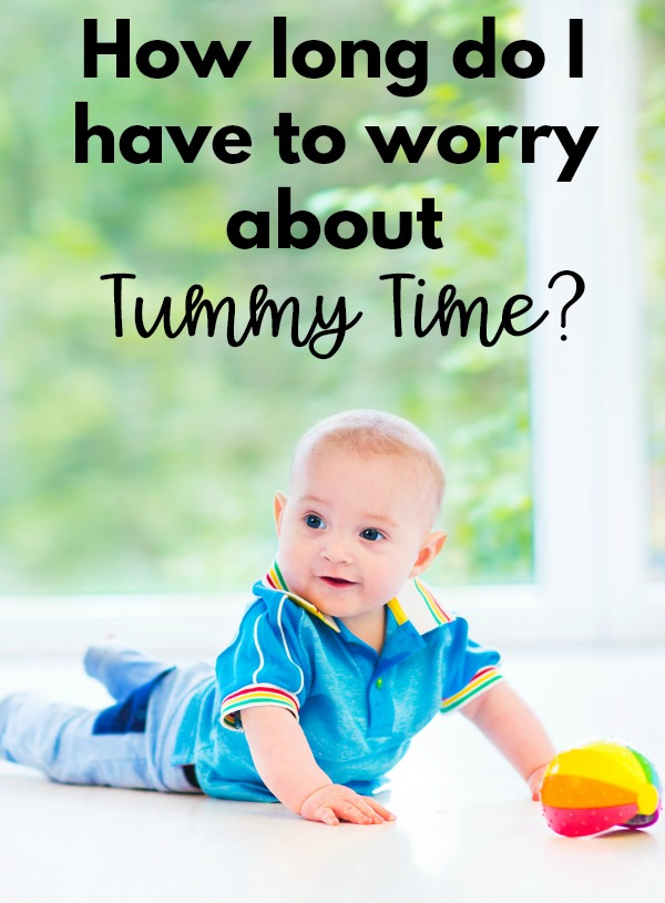 Have you ever wondered how long you have to worry about putting your baby in tummy time?  When is it okay to stop worrying about doing tummy time everyday?  This explains the answer for you!