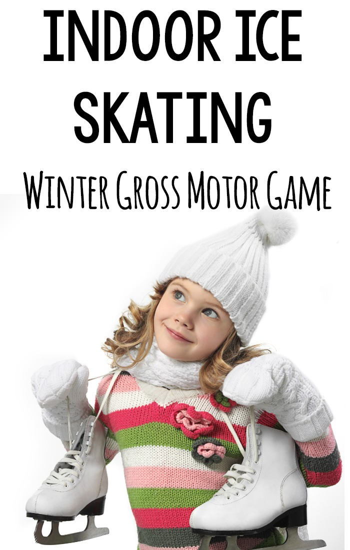 A fun winter gross motor game is indoor ice skating! Play this game on carpet or hard surfaces! A great winter activity for strength and balance and super FUN for the kids! #grossmotor #winter #brainbreak