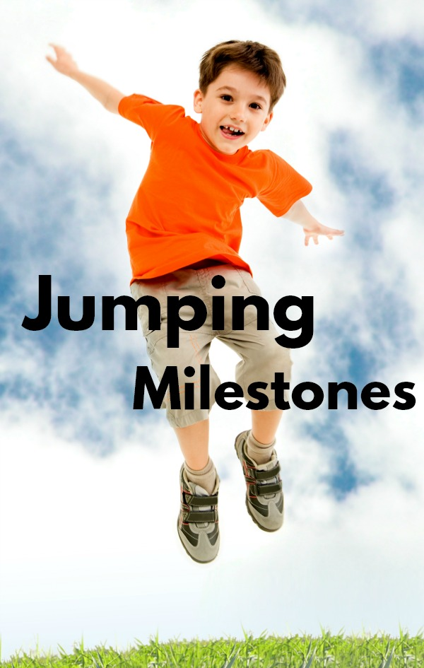 Gross motor milestones for jumping. A progression of how kids learn to jump and what ages each jumping skill takes place. A good reference for a physical therapist, occupational therapist, teacher, and parent.