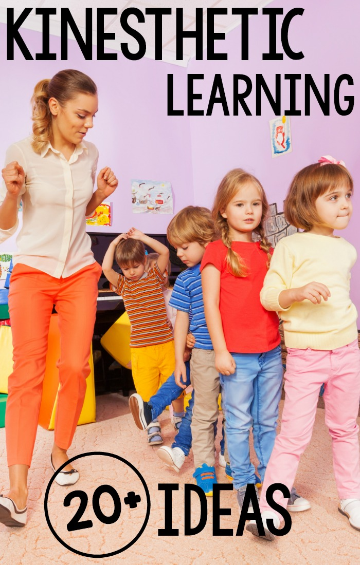 Over 20 Kinesthetic Learning Activities. All of these activities come from real classroom professionals! A fun list of over 20 ways to add physical activity to the classroom! #preschool #kindergarten #kinestheticlearning