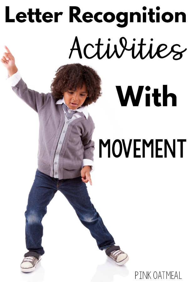Letter recognition activities that incorporate movement.  A great list of activities for preschool and kindergarten aged kiddos that work on letter recognition and identification. All the actiities are movement based making it easy to add movement to instructional time.