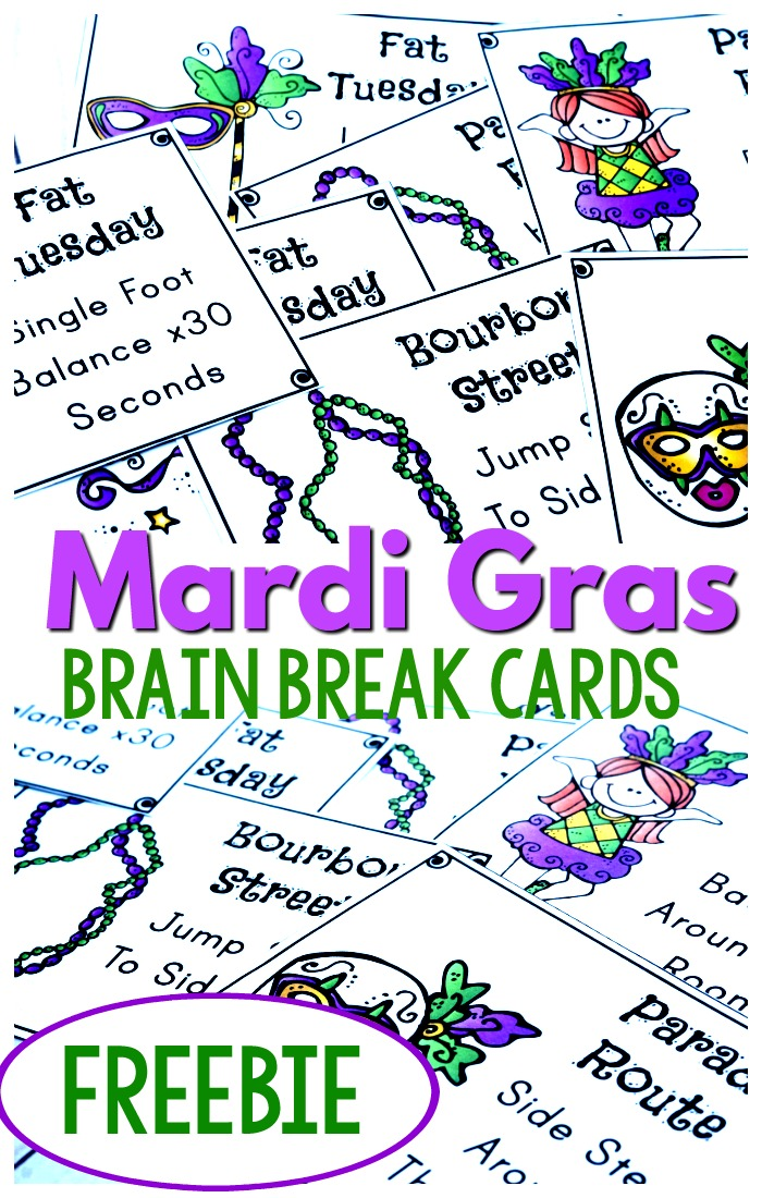 Free Mardi Gras Printables!  Brain breaks are a must everyday for kids.  Try out these Mardi Gras Brain Breaks to add fun to movement and add fun to your Mardi Gras unit!  #mardigras