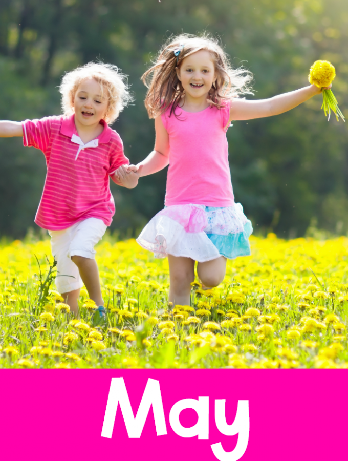 Gross motor activities for the month of May. Themed weeks with gross motor activities related to the the theme. These make gross motor activities for May planning so much easier. Plus, there are bonus free gross motor printables.