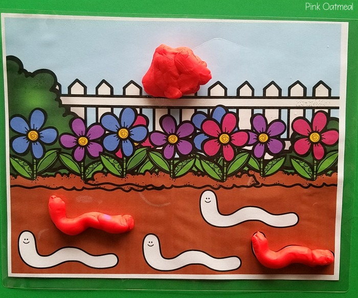 Garden Fine Motor Activities - Worm Play Dough Mat