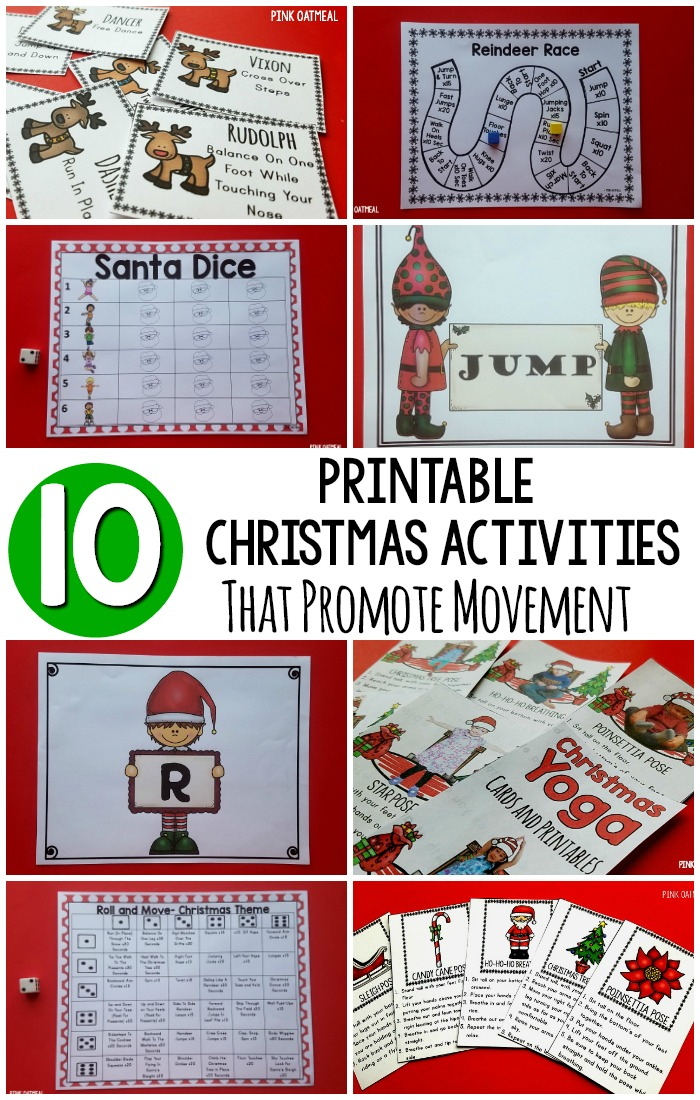 Christmas Printable Activities. All of these different printables promote physical activity! They are perfect for holiday party activities, Christmas brain breaks, Christmas themed gross motor or Christmas kids yoga! #Christmasprintables #ChristmasActivities #Christmasbrainbreaks #holidayactivities