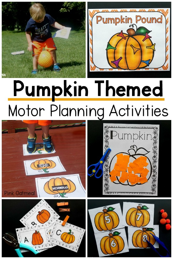 Pumpkin themed motor planning activities. Pumpkin themed fine motor and gross motor activities that are perfect for the classroom, therapy, or home. A great way to work on fine motor and gross motor skills in the fall!