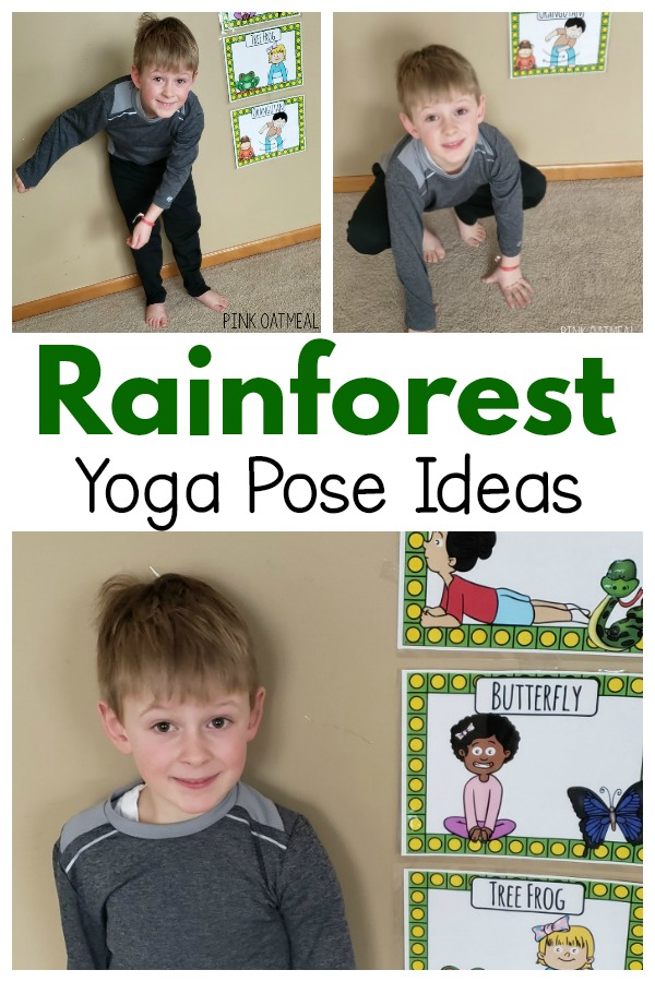 Rainforest themed yoga pose ideas. A great rainforest themed gross motor activity. Perfect for a brain break, therapy session or to use at home.