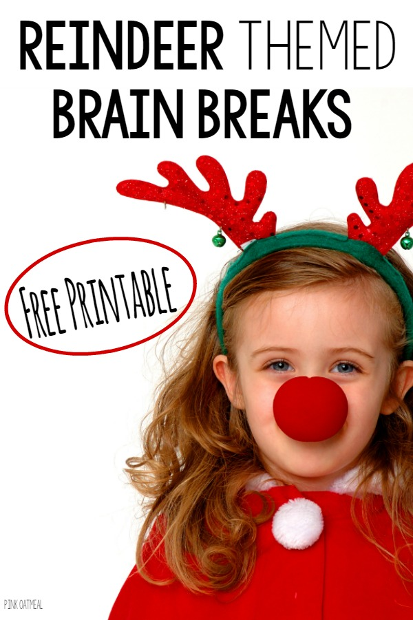 FREE brain break printables! Love the reindeer theme for the holidays!
