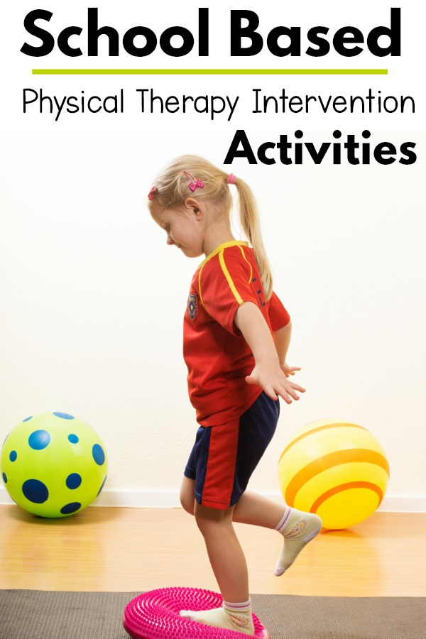 School based physical therapy activities and ideas. Fun core strength, balance, yoga, and more to work on functional skills at school.