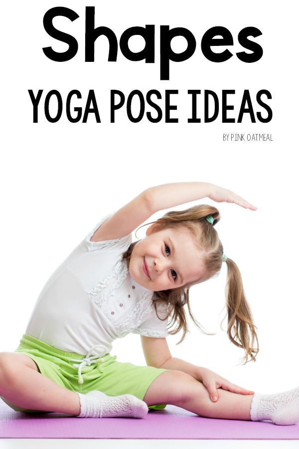 Shapes Yoga Pose Ideas For Kids. A great shapes activity and a great way to combine movement and learning. The yoga pose ideas are so simple that anyone will be able to have fun moving and learning about shapes. Perfect for preschool gross motor!
