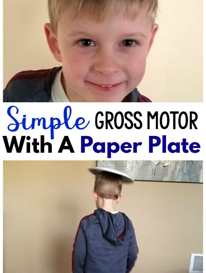 Simple Gross Motor Game with paper plates. This gross motor activity is perfect for preschool gross motor, physical therapy, occupational therapy, and physical education. #grossmotor #preschool