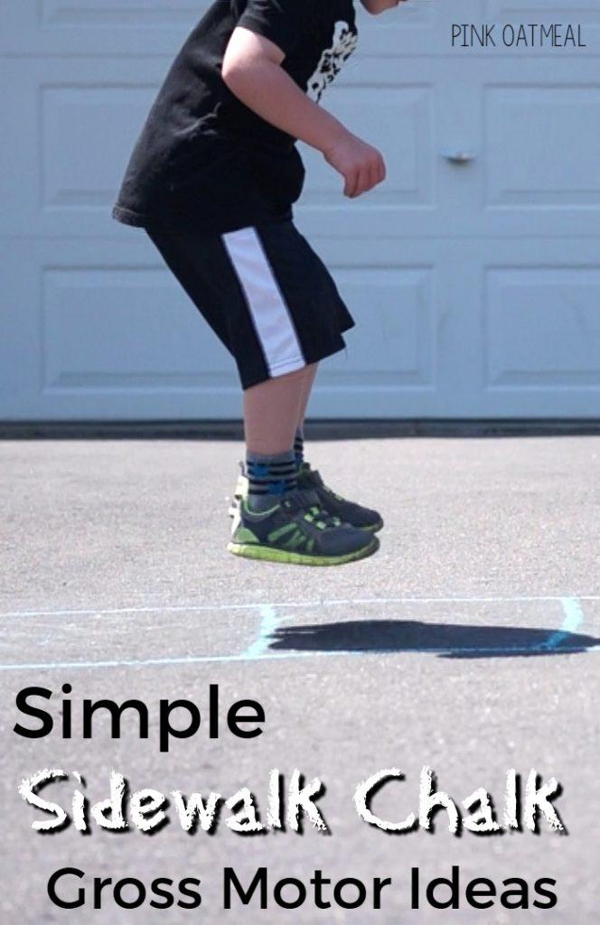 Simple Sidewalk Chalk Gross Motor Activities - these gross motor ideas are great for preschool gross motor and elementary gross motor!