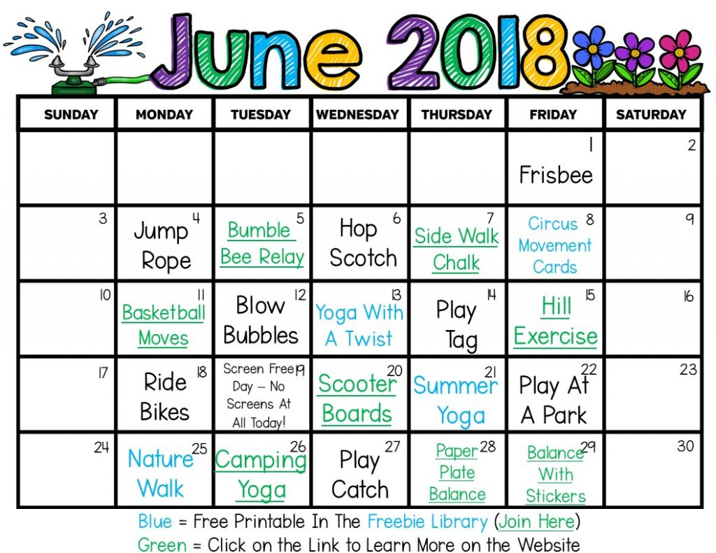 Free printable summer activity calendars with free printables and links to activities! This is great for kids this summer to encourage movement!