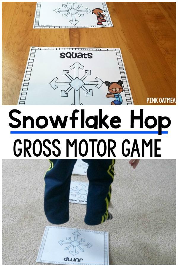 Winter Gross Motor. Snowflake Hop Gross Motor Game
