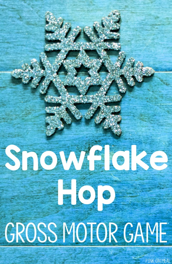 The snowflake hop is a great winter gross motor game. It's great for preschool aged and up. Use this game as a brain break, indoor recess, in therapy, physical education and preschool gross motor! Perfect to use all winter! #grossmotor #preschool #winter
