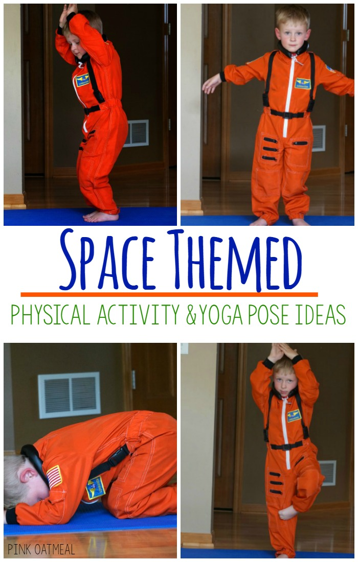 Spaced themed yoga is perfect for gross motor, kinesthetic learning, and sensory play. These ideas are perfect to incorporate into a space theme, space themed classroom, physical education, brain breaks, or therapies. Make physical activity fun with a space theme! Make your space theme even better with physical activity!