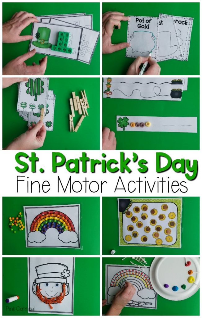 St. Patrick's Day fine motor activites. Fun St. Patrick's Day themed activities including cutting, tracing, manipulatives, clips, and more! Great for occupaitonal therapy, pre-k and kindergarten fine motor activities!