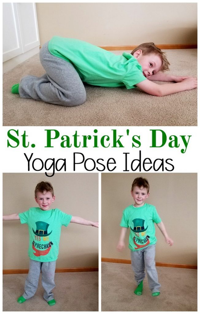 Kids yoga poses for St. Patrick's Day. This would be a fun preschool activity or to use for a brain break for the classroom. This St. Patrick's Day activity is beneficial for everyone!