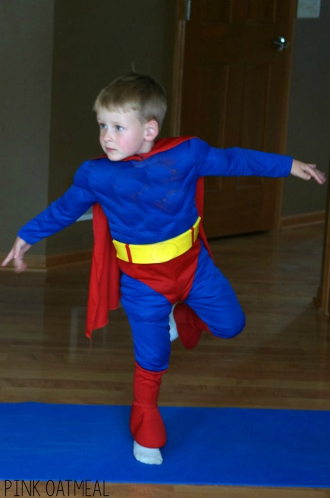 Superhero Yoga Pose Ideas and Supehero Gross Motor Ideas. These are awesome way to incorporate movement into a superhero theme, superhero classroom, or for any superhero!