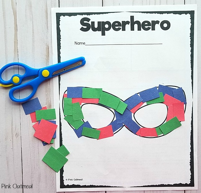 Superhero Activities - Superhero Scissor Skills for superhero masks.