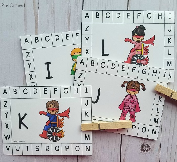 Superhero clip cards superhero activities for fine motor skills. Letter matching cards.