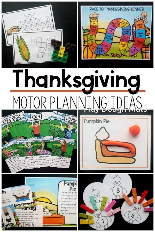 Thanksgiving themed motor planning ideas and activities. Thanksgiving fine motor activities and thanksgiving gross motor activity ideas.