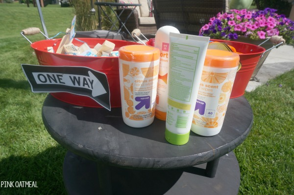 Transportation Birthday Party Ideas - Sunscreen and party favor station