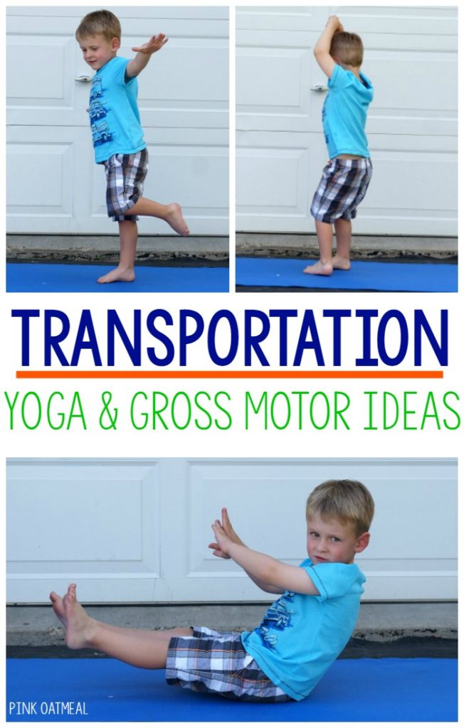 Transportation Yoga. Yoga poses for kids with a transportation theme! Make kids yoga fun by incorporating a theme! Transportation is a perfect theme to incorporate into kids yoga poses!