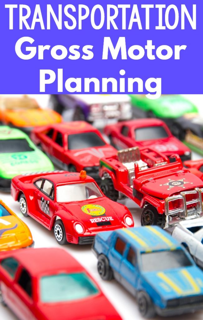 Transportation themed gross motor ideas! Preschool gross motor ideas with a transportation theme. Also great for gross motor ideas for kindergarten, physical therapy, and occupational therapy. A fun physical education theme as well!
