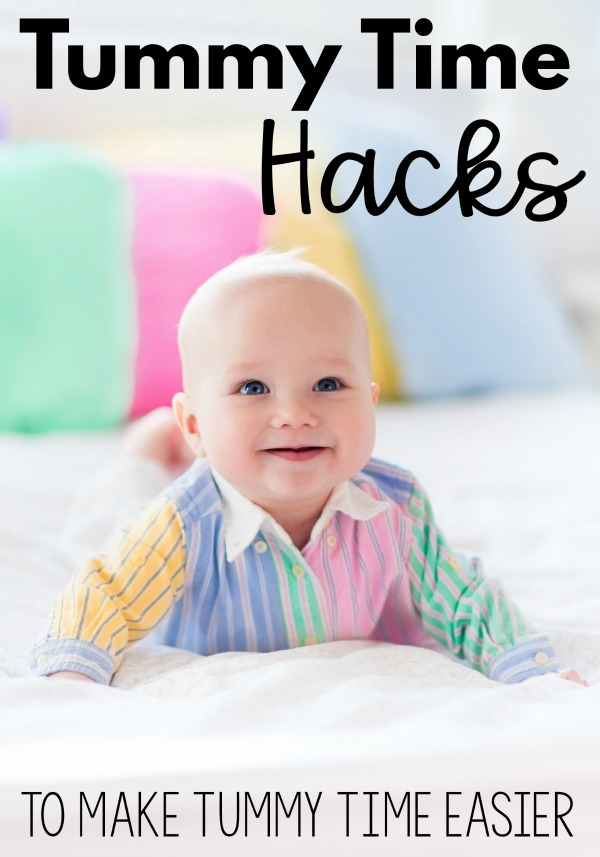 Tummy time hacks to make tummy time easier for your baby boy or baby girl.  These simple ideas will take the challenge out of tummy time for your baby.  Make tummy time a good time with these hacks!