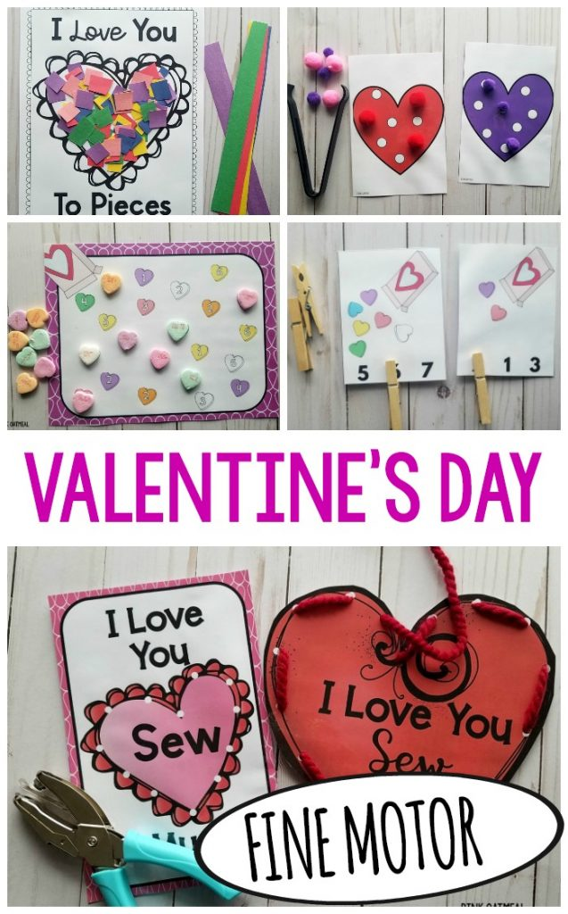 Valentine's Day Fine Motor Activities that are perfect for preschool or kindergarten. These fun Valentine's Day fine motor activities could easily be incorporated into occupational therapy as well. A fun way to work on fine motor skills!