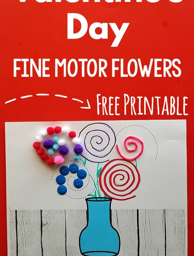 Free Valentine's Day Printables. Get these free fine motor printables with a Valentine's Day Theme! Make a fun vase of flowers and work on fine motor skills for Valentine's Day! #finemotor #valentinesday