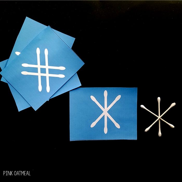 Winter fine motor snowflake task cards