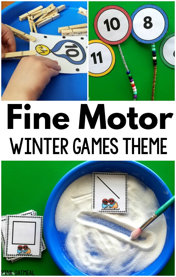 Winter games fine motor activities. These are a great way to work on fine motor skills with a winter theme! Perfect for preschool fine motor activities and kindergarten fine motor activities. Use these for occupational therapy fine motor activities. The kids will love the winter games theme!