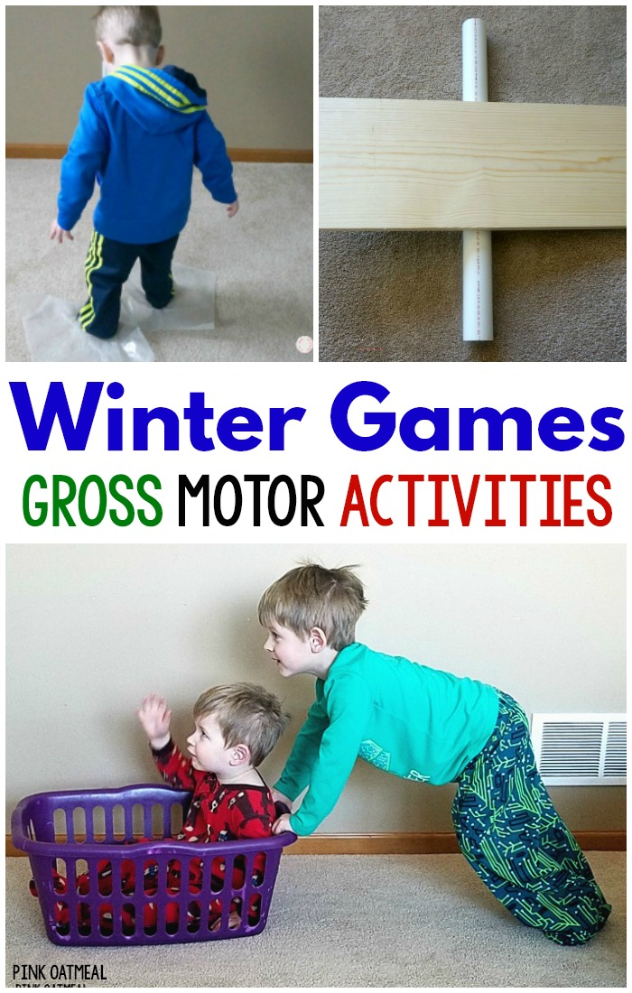 Winter gross motor games and activities to promote physical activity. These winter games gross motor activities are perfect for preschool gross motor. Use them for physical therapy gross motor, elementary school physical education, and at home!
