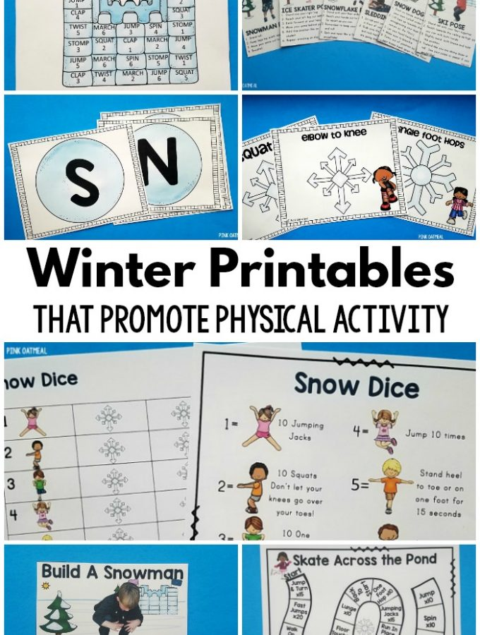 Winter printables that are designed for physical activity! These are the perfect winter activity for the classroom, home or therapy. They work great for preschool gross motor in the winter too! #printables #winter