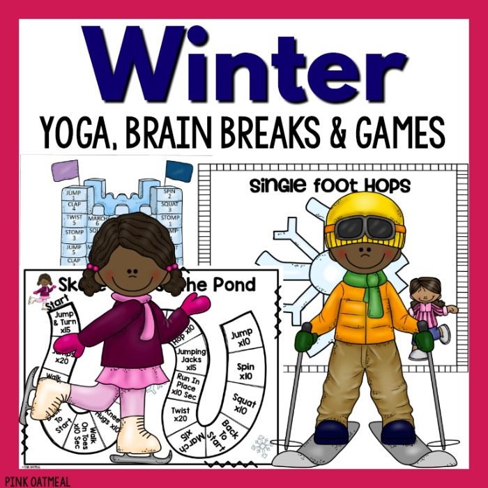 Snowflake hop winter gross motor game pink oatmeal for Winter themed gross motor activities