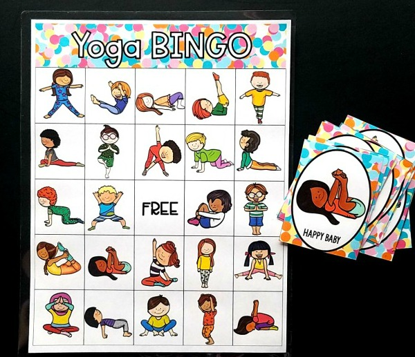 Yoga Bingo to use during fitness week.